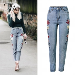 MSIN 2018 New Fashion Women Embroidered   Ankle-Length High Waist  jeans  Pencil pants  trousers light blue 34