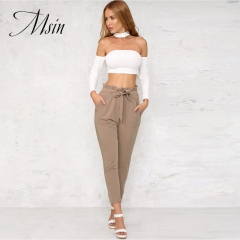 MSIN 2018 High Quality Women  Pure Lace  Pocket  High Waist Ankle-Length Loose Casual  trousers khaki m