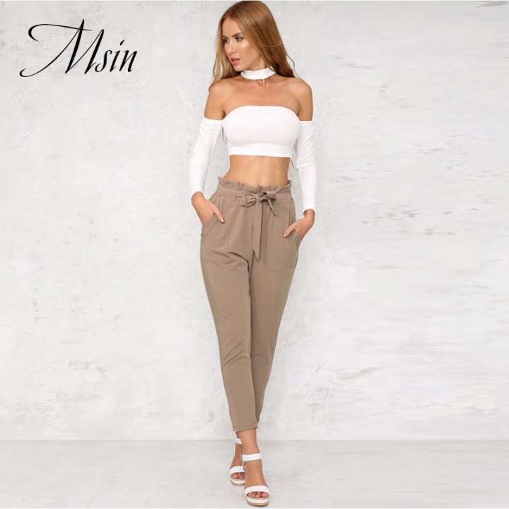 MSIN 2018 High Quality Women  Pure Lace  Pocket  High Waist Ankle-Length Loose Casual  trousers khaki l