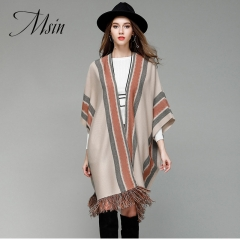 MSIN 2018 High  Quality Women Tassel Patchwork  Batwing Medium-length Half Sleeve Loose Sweater beige&stripe free size