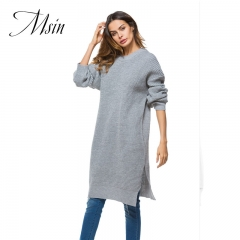 MSIN 2018 High  Quality Women Slit O-Neck Pullover Patchwork Pure Long Casual  Loose Sweater gray free size
