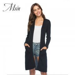 MSIN 2018 High  Quality Women Slit Cardigan Belt V-Neck  Patchwork Pure Long Casual  Loose Sweater black s