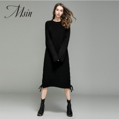 MSIN 2018 High  Quality Women Pullover Stringing  O-Neck  Patchwork Pure Long Casual  Loose Sweater black free size