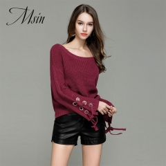 MSIN 2018 High  Quality Women Pure O-Neck Pullover Stringing​ Knit​  Trumpet Casual  Loose Sweater rose red s