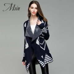 MSIN 2018 High  Quality Women  Belt Knit Lapel  Patchwork  Medium-length Casual  Cardigan Sweater dark blue m