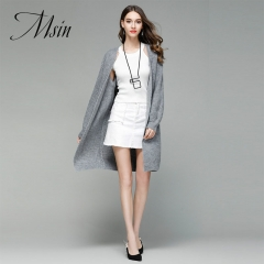 MSIN 2018 High  Quality Women Pure Cardigan  V-Neck Puff sleeve Long Casual  Loose Sweater gray free size