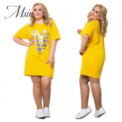 MSIN 2018 New Fashion Large Size Polyester Pullover Printing Above knee  O-Neck 6XL  Loose  Dress l yellow