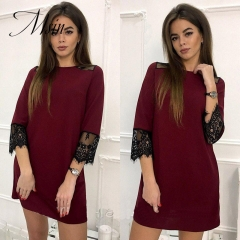 MSIN 2018 New Fashion Women Blended Lace Casual O-Neck Above knee Patchwork Sexy Vintage   Dress s green