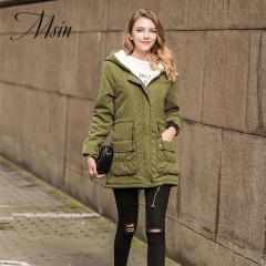 MSIN High Quality Wome Pocket Rope Zipper  Medium-length  Hooded Custom Street Coats army green s