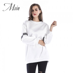 MSIN 2018  Women Pullover Patchwork O-Neck Long Sleeve  Loose Top white m