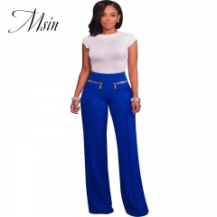 MSIN 2018 New Fashion Women Zipper High waist  Pure  Patchwork Casual  Straight   trousers blue s