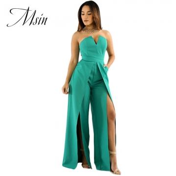 36875ab31a4c MSIN 2018 New Fashion Women V-Neck Sleeveless Slit Wrinkle Zipper Custom Sexy  Wide Leg