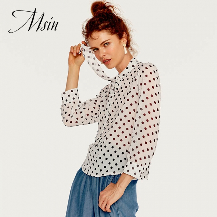 MSIN 2018 New Fashion Women  Lapel Long Sleeve Belt Printing Sweet Style Loose Top white m