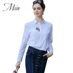 MSIN 2018 New Fashion Women Lapel Long Sleeved Custom Shirt white s