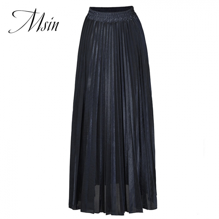 MSIN 2018 New Fashion Women Spandex Casual Above knee Length Pleated Skirts black s