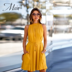 MSIN 2018 New Fashion Women  Lace Strapless Pleated​ Off the Shoulder​ Sexy Stree Dresses l yellow