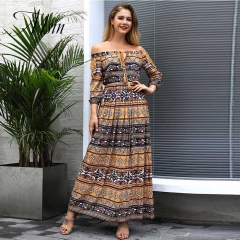 MSIN 2018 New Fashion Women Bohemian Vacation High Waist Printing Horizontal Neck Loose Sexy Dress s yellow