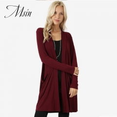 MSIN Winter Clearance Sale High Quality Wome Pocket Casual Street  Pure​  Loose​ Coats wine red l