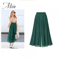 MSIN 2018 Summer Hot Sale Large size Pleated Loose Chiffon Wide Leg Pants green xl