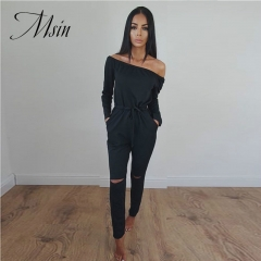 MSIN 2018 New Fashion Women Sexy Lace Strapless Horizontal Neck High Waist Sheath Long Jumpsuits black s
