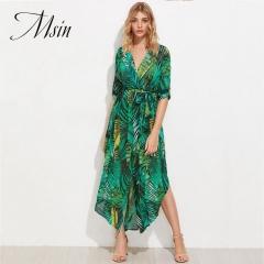 MSIN 2018 Summer Hot Sale of Flower Printing V-neck Slit Girdle Beach  Vacaton Dress s green