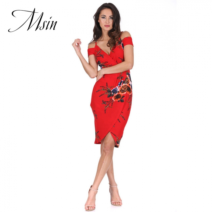 MSIN 2018 New Fashion Women Sexy Backless Strapless Printing V-Neck High Waist  Pencil Dress s red&flower