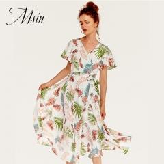 MSIN 2018 Women New Fashion Printing V-Neck Short Sleeve Custom  Dress s white&flower
