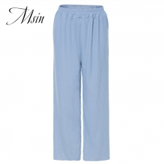 MSIN 2018 New Fashion Women  High waist  Pure Elastic Casual  Straight   trousers blue free size