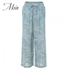 MSIN 2018 New Fashion Women  High waist Mesh Printing Casual  Straight   trousers blue m