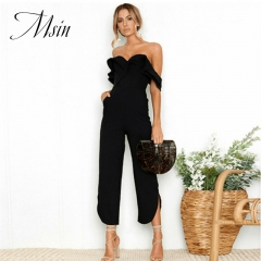 MSIN 2018 New Fashion Women Sexy Pocket Backless Pure Slash Neck Straight High Waist Jumpsuits black s