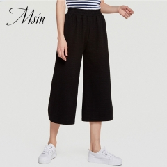 MSIN 2018 New Fashion Women Pure Elastic Casual Straight sport trousers black s