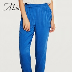 MSIN 2018 New Fashion Women Pure Elastic Casual Straight sport trousers blue s