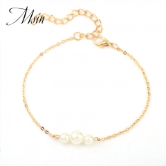 Gold  silver Pearl Beaded Bracelet Jewelry Bracelet Gift party Wedding Wholesale high quality random color 21cm