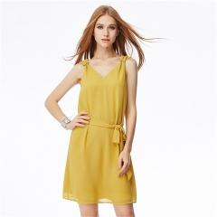 MSIN new arrival fashion sexy V-neck chiffon vest skirt square buckle decorative waist dress xl yellow