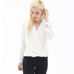 MSIN New solid color chiffon women shirt V-neck sexy long-sleeved blouse for office party daily white xxl