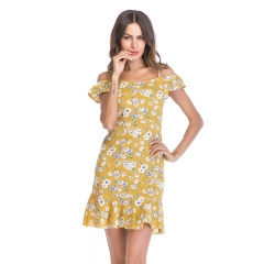 MSIN sexy floral chiffon dress summer female sling strapless ruffled beach skirt for women dress xl yellow