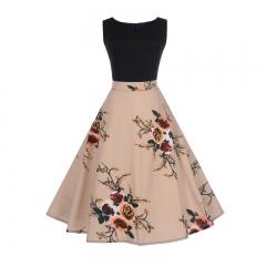 MSIN Women's Europe and America women dress sleeveless stitching print dress retro big swing skirt s 1