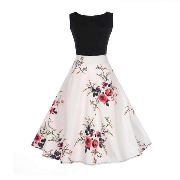 MSIN Women's Europe and America women dress sleeveless stitching print dress retro big swing skirt m 2