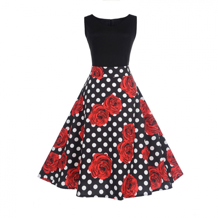 MSIN Women's Europe and America women dress sleeveless stitching print dress retro big swing skirt s 7