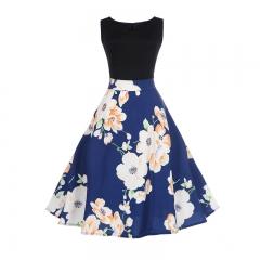 MSIN Women's Europe and America women dress sleeveless stitching print dress retro big swing skirt s 13