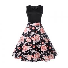 MSIN Women's Europe and America women dress sleeveless stitching print dress retro big swing skirt xxl 23
