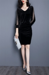 MSIN Large size women dresses body slimming cropped sleeves stitching gold velvet dress s black