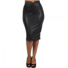 MSIN imitation leather natural waist triangle opening package hip and knee mid-skirt bag hip skirt black s