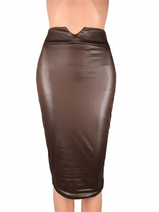 MSIN imitation leather natural waist triangle opening package hip and knee mid-skirt bag hip skirt dark brown s