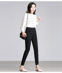 MSIN New women trousers fashion plaid feet pants pencil pants for casual office daily dress black m