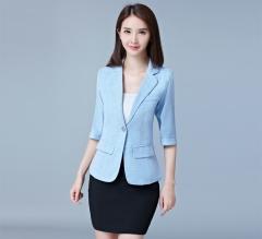 MSIN Small suit women short jacket temperament seven-point sleeves Slim wild casual suit light blue xxxl