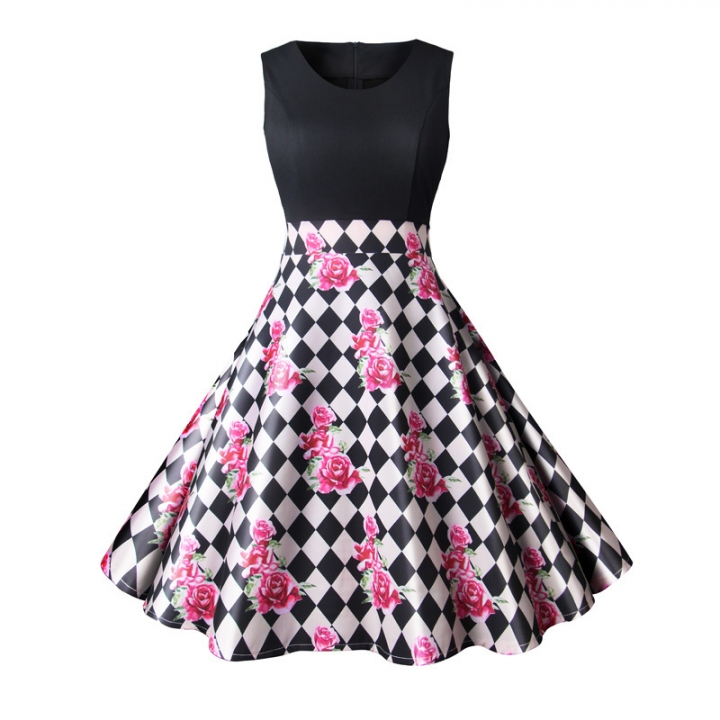MSIN  models Europe and the United States new arrival dress retro print stitching big swing dresses l 4