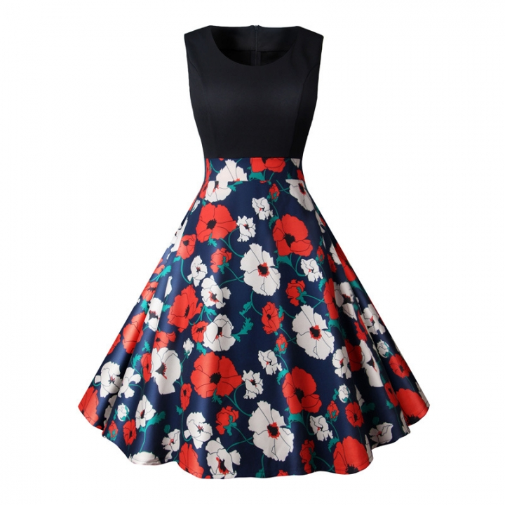 MSIN  models Europe and the United States new arrival dress retro print stitching big swing dresses s 5