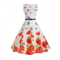 MSIN Explosion women's sleeveless print dress Hepburn style retro swing skirt women dresses xl as the picture