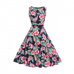 MSIN Best selling explosions European and American women's dersses style retro rose print dress tutu s 1
